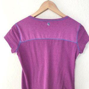 Kuhl Striped Henley T Shirt Purple S
